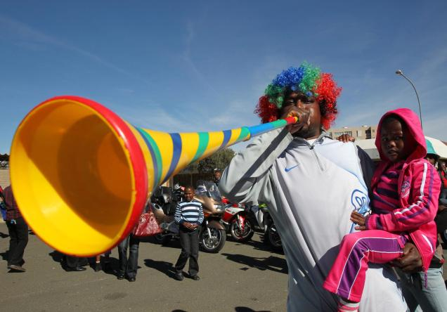 A football fan blowing a vuvuzela in Kimberley, South Africa. File Photo: AP